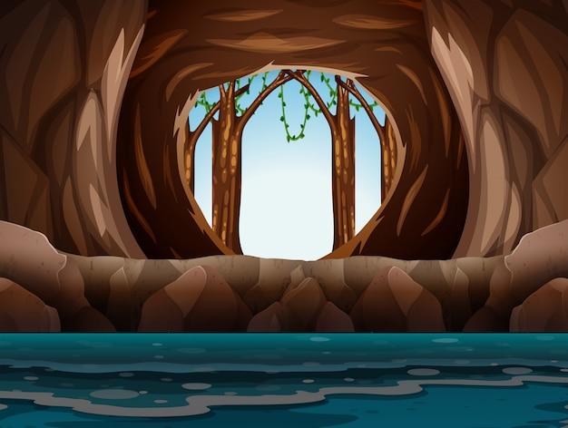 Höhle mit eingang und wasser