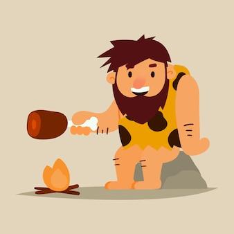 Höhlenbewohner, der fleisch kocht