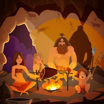 Höhlenbewohner-familien-karikatur-illustration