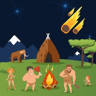 Höhlenfamilie, asteroidenfall bei haus-urmenschengruppenillustration. männer, frau und kind nahe natürlichem heißem lagerfeuer