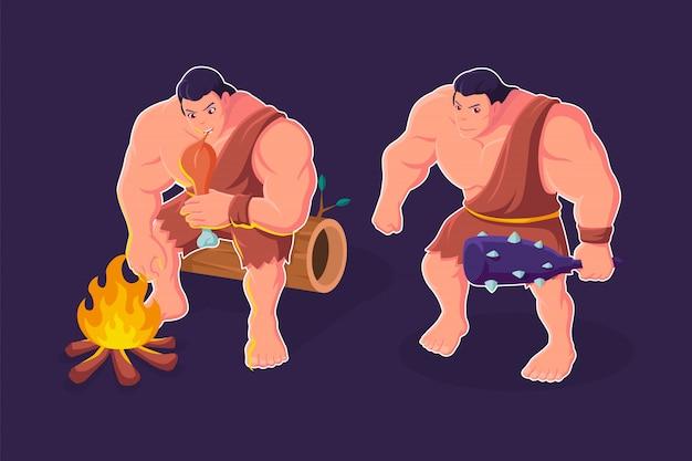 Höhlenmensch-karikatur, die fleischillustration isst
