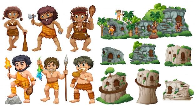 Höhlenmenschen und verschiedene arten von häusern