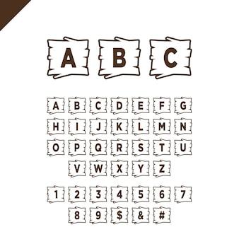 Hölzerne alphabetblöcke mit buchstaben und zahlen in der hölzernen beschaffenheit