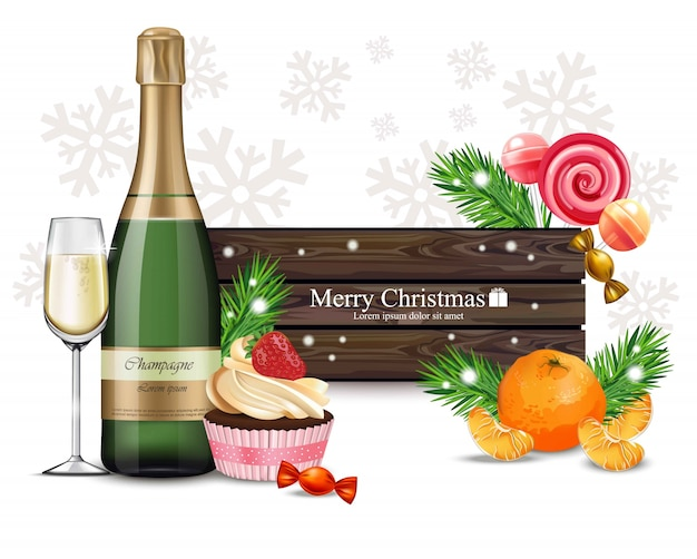 Hölzerne fahne der frohen weihnachten mit bonbons und champagner