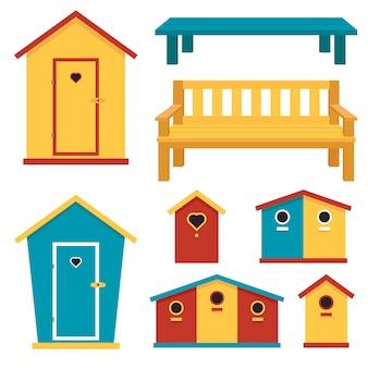 Hölzerne gartenstrukturen: toilette, vogelhaus, bank. vektor-illustration.