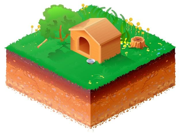 Hölzerne hundehütte auf isometrischer 3d-illustration des grünen grases.