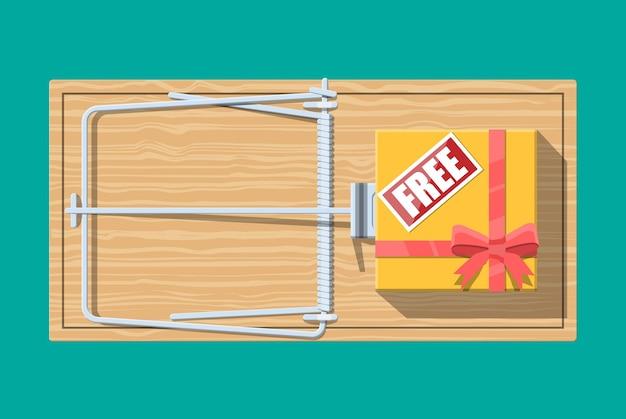 Hölzerne mausefalle mit geschenkbox mit kostenlosem schild, klassische federbelastete stangenfalle.