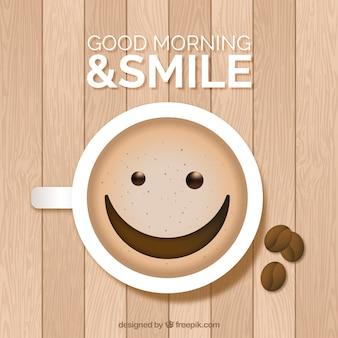 Hölzerne oberfläche mit glücklicher kaffeetasse