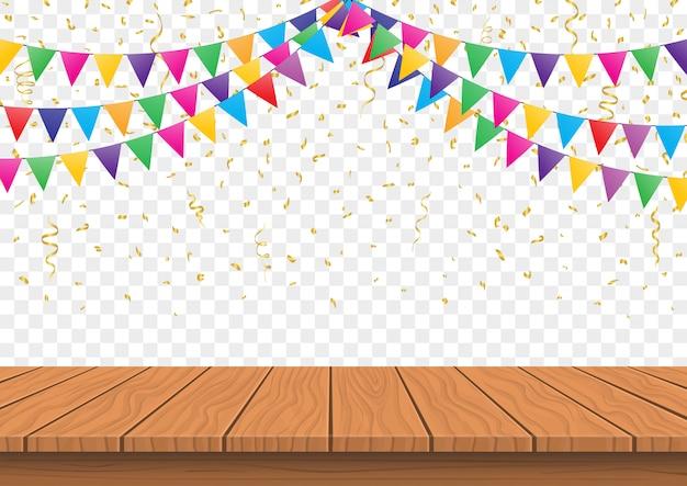 Hölzerne präsentationstafelspitze mit bunten flaggen mit konfettihintergrundvektor