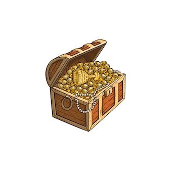 Hölzerne schatztruhe mit der goldmünzenkarikatur-skizzenillustration lokalisiert.