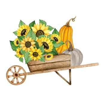 Hölzerne schubkarre mit kürbis- und sonnenblumenblumenstrauß erntefest-aquarellillustration