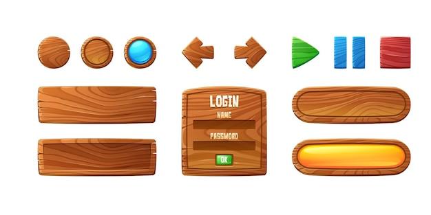Hölzerne tasten für das design der benutzeroberfläche im spiel-video-player oder website-vektor-cartoon-set aus braunem...