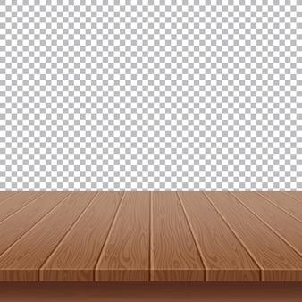 Hölzerne tischplatte auf getrenntem hintergrund