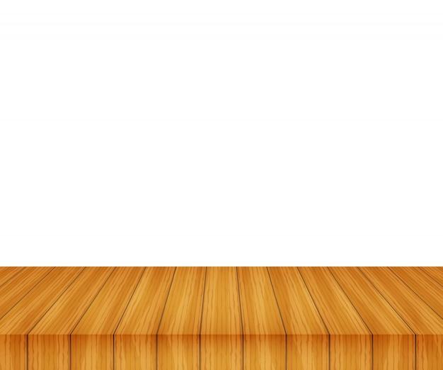Hölzerne tischplatte des vektors auf weißem hintergrund
