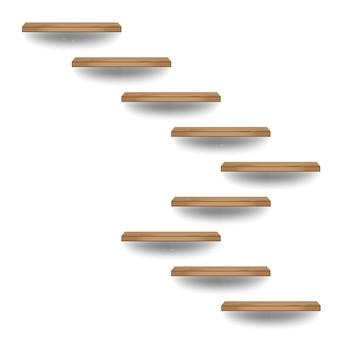 Hölzerne treppe auf weißer wand im innenraum, vektorillustration