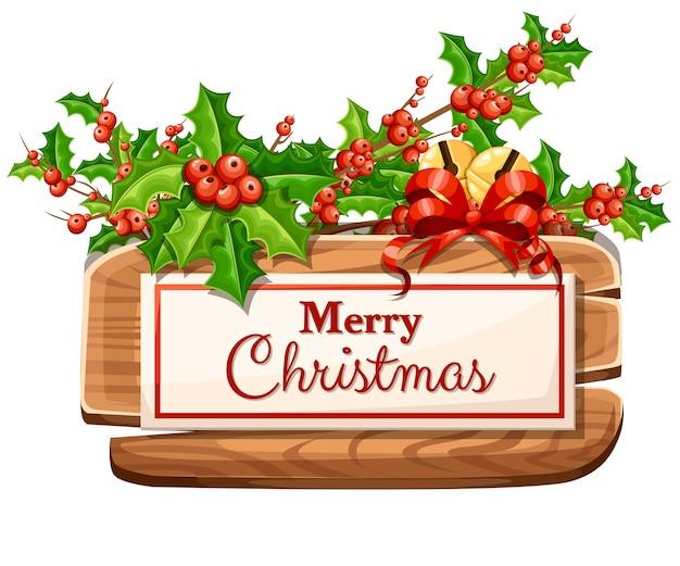 Hölzerne weihnachtstafel mit satz feiertagsdekoration und der inschrift mit frohen weihnachtsillustration auf weißem hintergrund