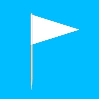 Hölzerne zahnstocher kennzeichnet die dreieckminiatur, die auf blau lokalisiert wird