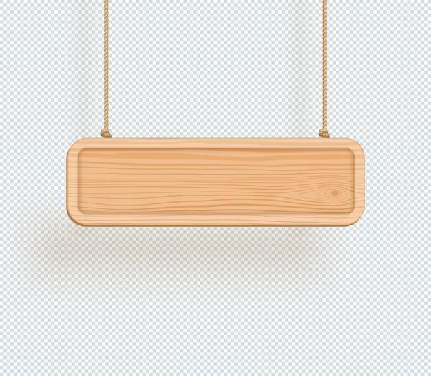 Hölzerne zeichen-ebene 3d, die vom seil hängt Premium Vektoren