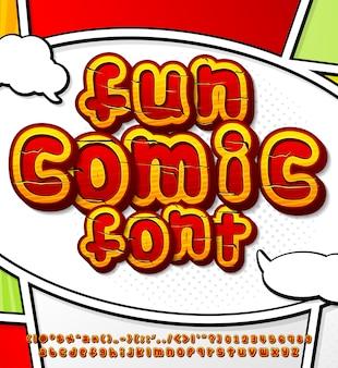 Hölzerner comic-font im pop-art-stil
