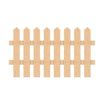 Hölzerner gartenzaun von planken auf weißem hintergrund, vektorillustration