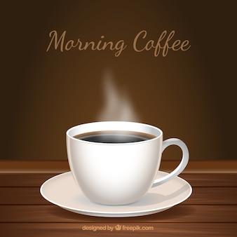 Hölzerner hintergrund mit einer tasse kaffee