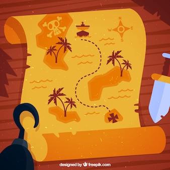 Hölzerner hintergrund mit piratenschatzkarte