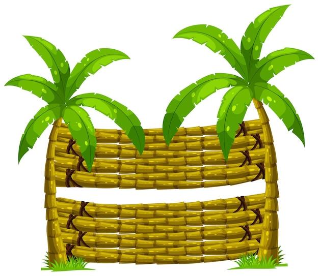 Hölzerner hintergrund mit zwei kokospalmen