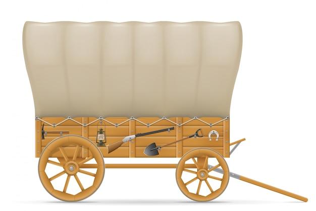 Hölzerner lastwagen des wilden westens mit einer markisenillustration