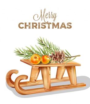 Hölzerner pferdeschlitten der frohen weihnachten mit orange früchten auf die oberseite