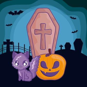 Hölzerner sarg mit christlichem kreuz auf halloween-szene