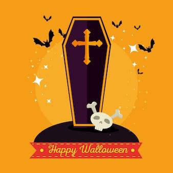 Hölzerner sarg mit einem kreuz glückliches halloween