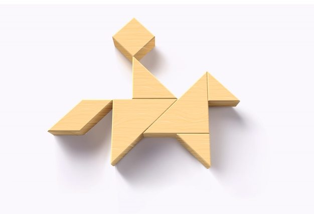 Hölzerner tangram des mannes auf pferdepuzzlespiel, kind und spielzeugkonzept