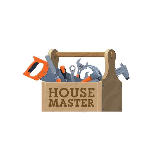 Hölzerner werkzeugkasten, vektorhaus-reparaturwerkzeuge-symbol. wartungswerkzeugsatz, baubeschläge und zimmermannsgeräte in holzkiste, hammer, schraubenschlüssel oder schraubenschlüssel, schraubendreher, säge und bremssattel