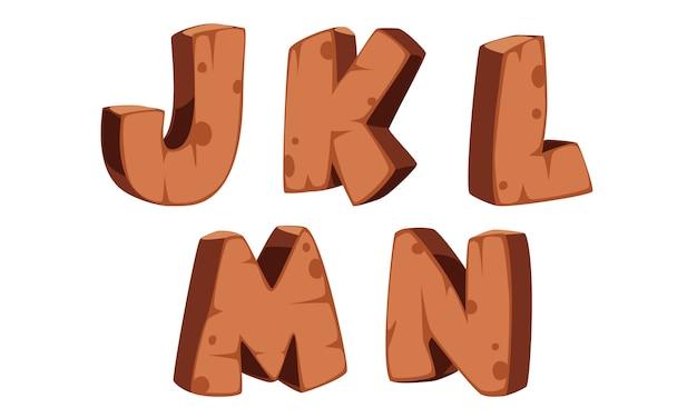 Hölzernes alphabet j, k, l, m, n