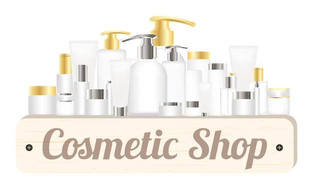 Hölzernes brett des kosmetischen shops mit kosmetischen rohren