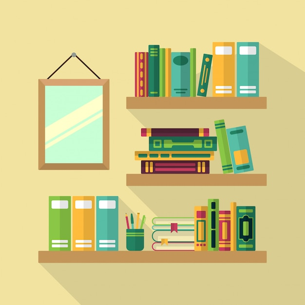 Hölzernes bücherregal in der bibliothek mit verschiedenen büchern.