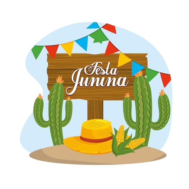 Hölzernes emblem mit kaktuspflanze und hut zum festival