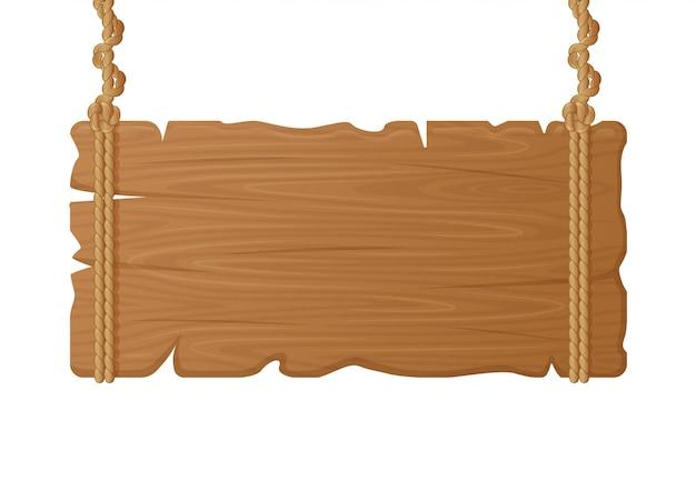 Hölzernes hängendes brett. leeres holzschild auf seil, vintage leere plakatwand, hängende holzbrettplankenillustration. plakat vintage plank, schild banner