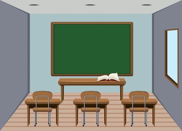 Hölzernes klassenzimmer des innenraums leer