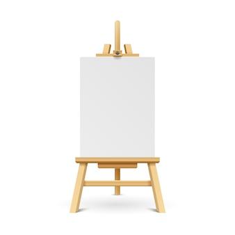 Hölzernes lackbrett mit weißem leerem papierrahmen. kunststaffelstand mit segeltuchvektorillustration.