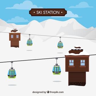 Hölzernes skistation design