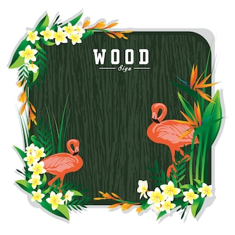 Hölzernes zeichenbrett und flamingoblumenillustration