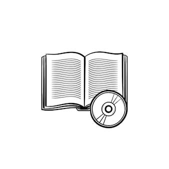 Hörbuch hand gezeichnete umriss-doodle-symbol. lernmaterialien - hörbuchvektorskizzenillustration für druck, netz, handy und infografiken lokalisiert auf weißem hintergrund.