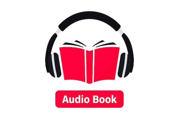 Hörbuch-logo. hören sie literatur, e-books im audioformat. bücher online mobile anwendung flaches symbol. online-hörbuch mit kopfhörern, e-learning im fernunterricht. podcast, webinar, tutorial