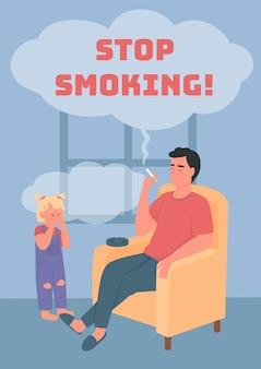Hören sie auf zu rauchen poster flache vektorvorlage. nachlässiger elternteil mit schlechter angewohnheit. broschüre, broschüre, einseitiges konzeptdesign mit zeichentrickfiguren. ungesunder lebensstil flyer, broschüre mit kopienraum