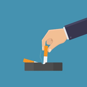 Hören sie auf zu rauchen, schalten sie die zigarette im aschenbecher aus