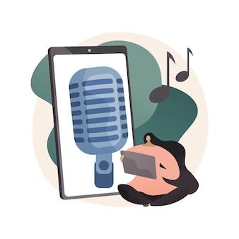 Hören sie sich die abstrakte konzeptillustration von podcasts an. freizeit in der quarantäne covid-2019