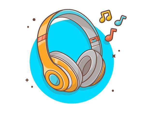 Hörende musik des kopfhörers mit melodie- und anmerkungs-musik-vektor-ikonen-illustration. technologie-und musik-ikonen-konzept-weiß lokalisiert