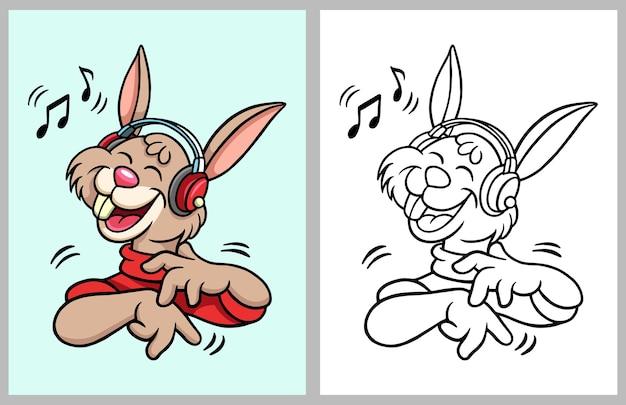 Hörender musikkarikaturcharakter des kaninchens malbuch
