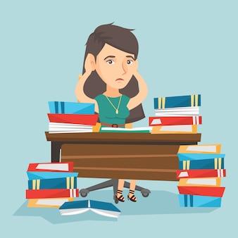 Hoffnungsloser student, der mit vielen lehrbüchern studiert.